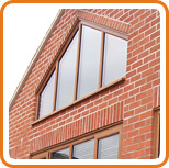 A photo of a shaped window